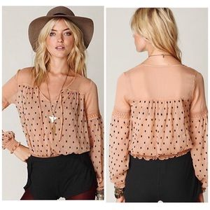 Anthro Free People Peach Polka Dot Peasant Top